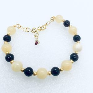 ~ Yellow Jade & Garnet Bracelet Natural Stone ~